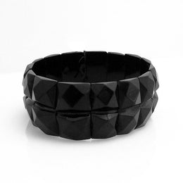 W Hamond Antique Whitby Jet Faceted Square Shape Double Band Bracelet, BUNQ0000339.