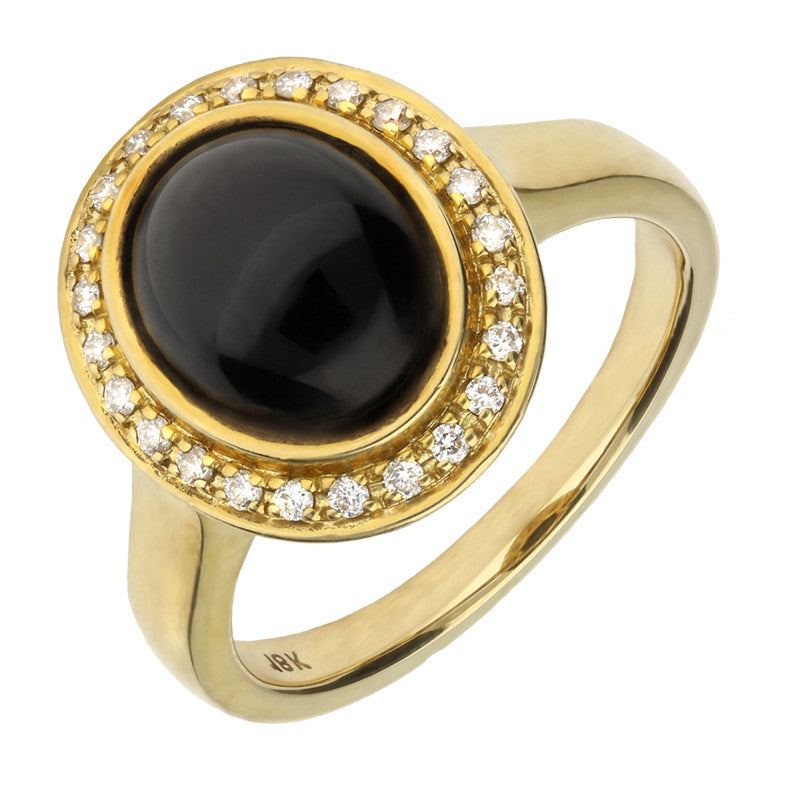 18ct Yellow Gold Whitby Jet and Diamond Oval Centred Ring