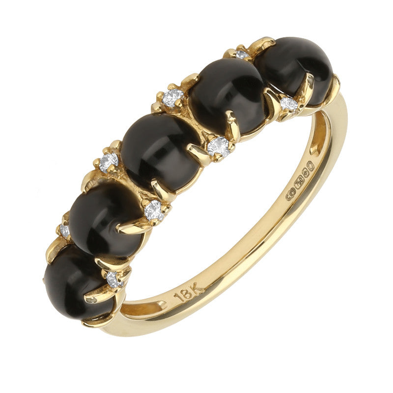 18ct Yellow Gold Whitby Jet And Diamond 5 Stone Half Eternity Ring