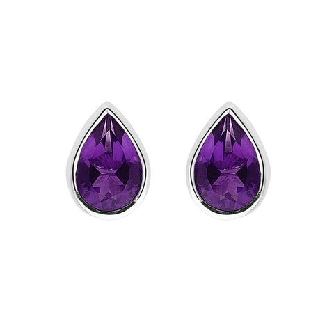 9ct White Gold 0.70ct Amethyst Pear Cut Stud Earrings
