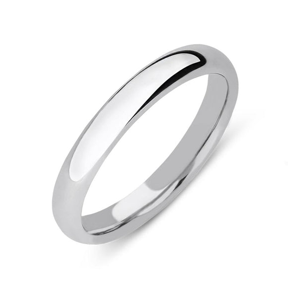 9ct White Gold 3mm Court Shape Wedding Ring, CGN-909.