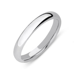 9ct White Gold 3mm Court Shape Wedding Ring