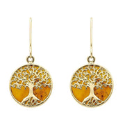 00179853 W Hamond 9ct Yellow Gold Amber Round Tree Drop Earrings, E2429.