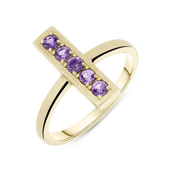 9ct Yellow Gold Amethyst Perpendicular Bar Ring, R323B.