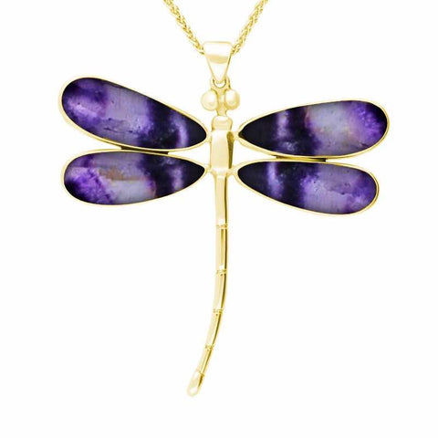 9ct Yellow Gold and Blue John Four Stone Large Dragonfly Necklace