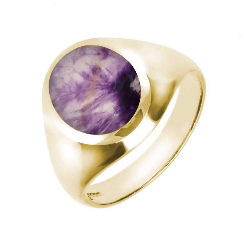 9ct Yellow Gold And Blue John Medium Oval Signet Ring