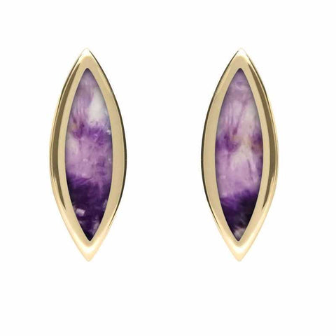 9ct Yellow Gold Blue John Toscana Marquise Stud Earrings