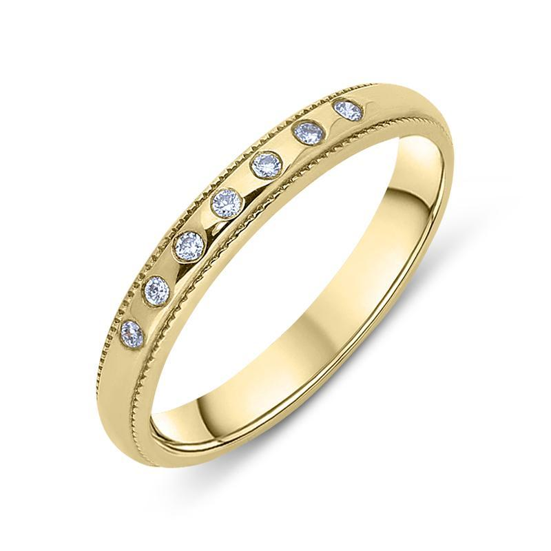 9ct Yellow Gold Diamond Milgrain Half Eternity Ring