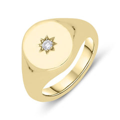 9ct Yellow Gold Diamond Oval Signet Ring