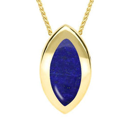 00157668 W Hamond 9ct Yellow Gold Lapis Lazuli Framed Marquise Necklace, P861.