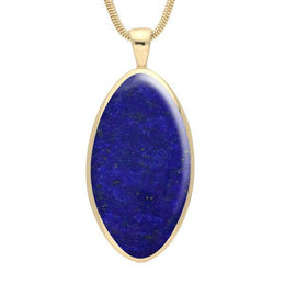00033053 W Hamond 9ct Yellow Gold Lapis Lazuli Large Oval Necklace, P079.