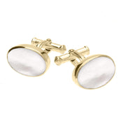 00025061 W Hamond 9ct Yellow Gold Mother Of Pearl Oval Cushion Cufflinks, CL127.
