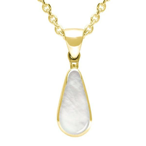 00037205 W Hamond 9ct Yellow Gold Mother of Pearl Small Pear Necklace, P163.