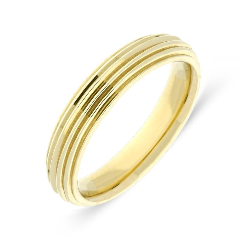 9ct Yellow Gold 4mm Ridged Wedding Ring