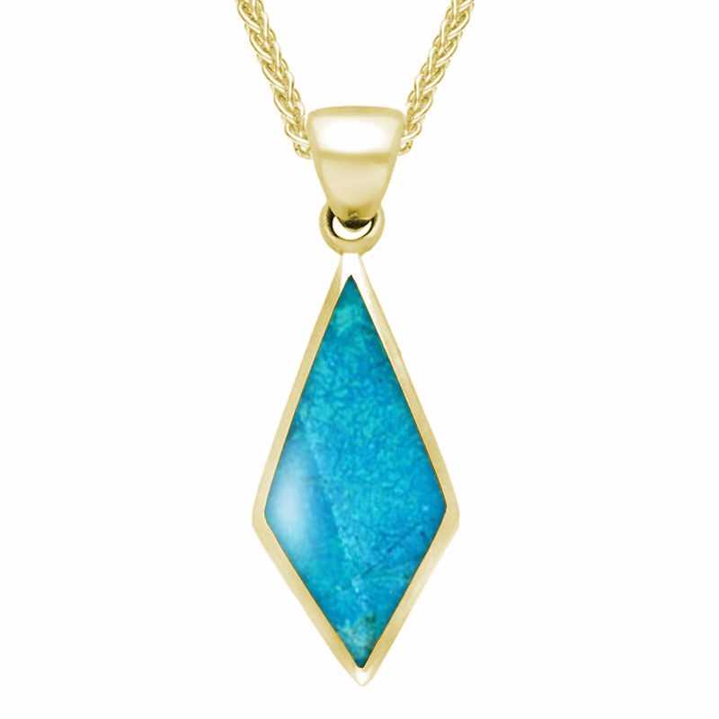 9ct Yellow Gold Turquoise Diamond Shaped Necklace
