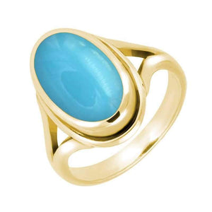 9ct Yellow Gold Turquoise Ribbed Ring