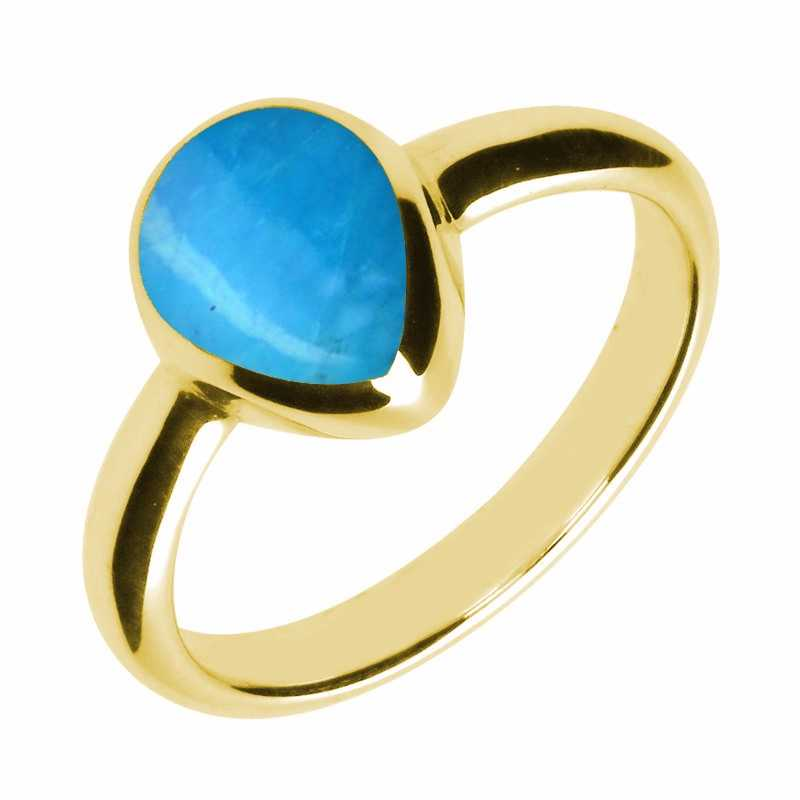 9ct Yellow Gold and Turquoise Pear Shaped Ring