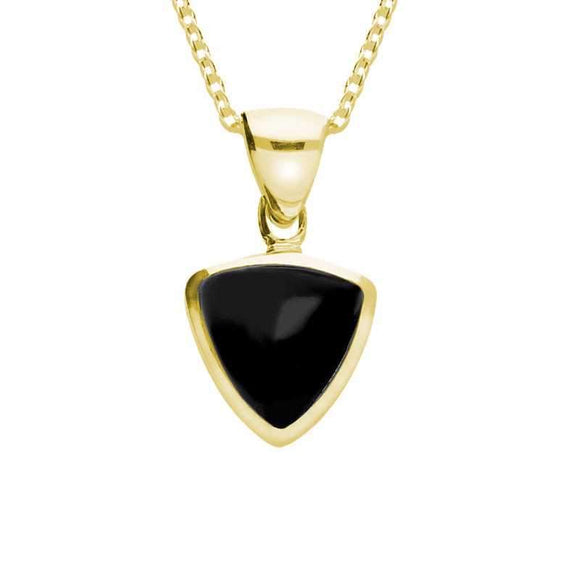 00032657 W Hamond 9ct Yellow Gold Whitby Jet Curved Triangle Necklace, P323.