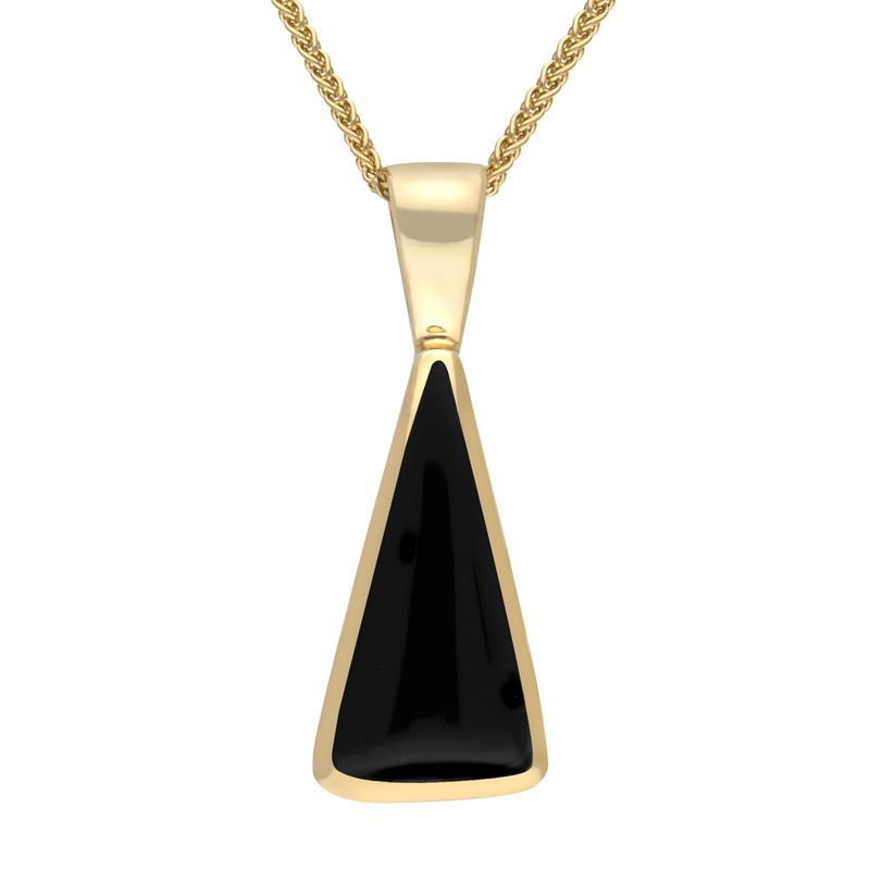 9ct Yellow Gold and Whitby Jet Triangle Shape Necklace
