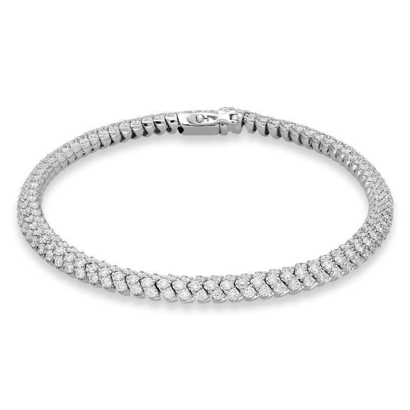 Al Coro Amori 18ct White Gold 4.22ct Diamond Tennis Bracelet