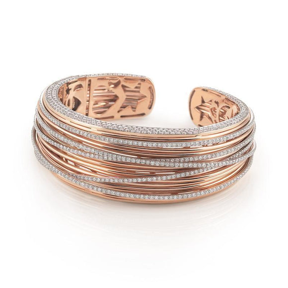 Al Coro Mezzaluna 18ct Rose Gold 7.34ct Diamond Bangle, NB8808R.