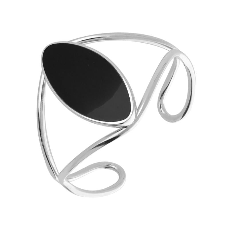 Sterling Silver Whitby Jet Oval Wire Cuff Bangle