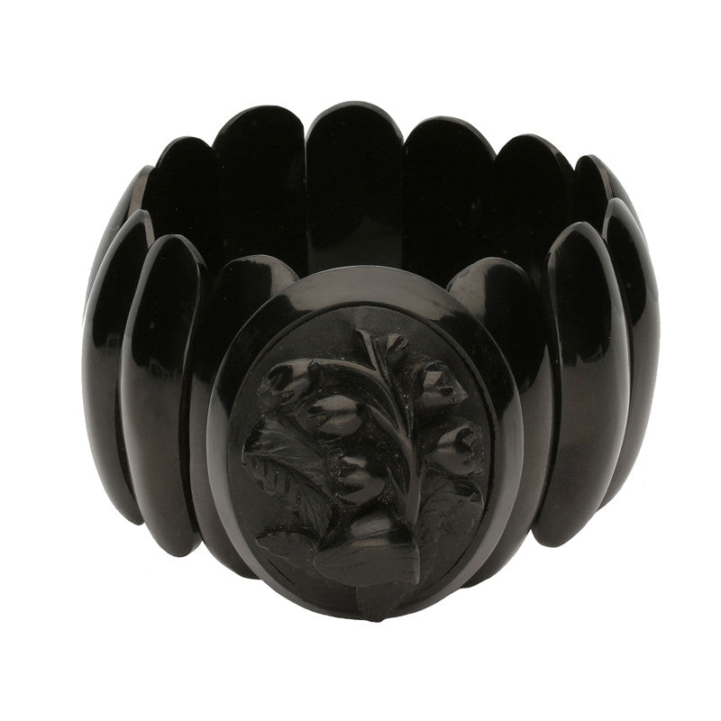 Antique Whitby Jet Carved Flower Bracelet