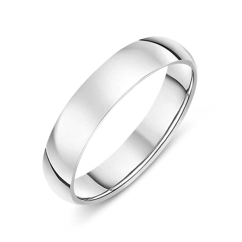 Platinum 4mm Classic Court Wedding Band Ring