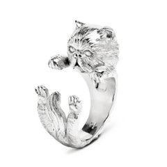 Cat Fever Sterling Silver Persian Hug Ring