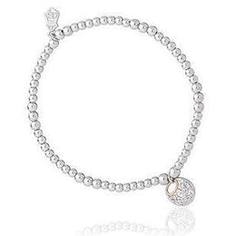 Clogau Am Byth Sterling Silver 9ct Rose Gold Beaded Bracelet, 3SBB1.