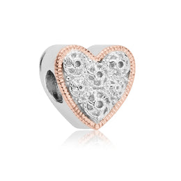 Clogau Cannetille Sterling Silver Rose Gold Heart Charm, 3SLLC206.