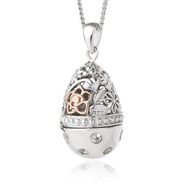 Clogau Sterling Silver White Topaz Floral Egg Locket, 3SFELS.