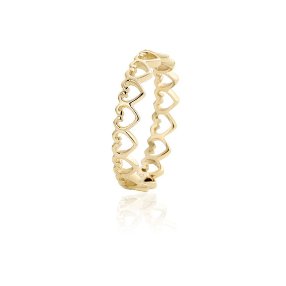 Clogau Heart Yellow Gold Affinity Stacking Ring EH06