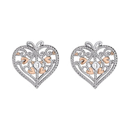 Clogau Kensington Sterling Silver Heart Stud Earrings, 3SKTLSE.
