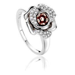 Clogau Rose Sterling Silver White Topaz Ring. 3SRMR.