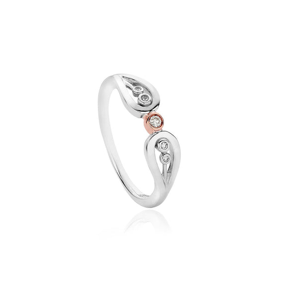 Clogau Royal Crown Sterling Silver Diamond Ring 3SRCR02