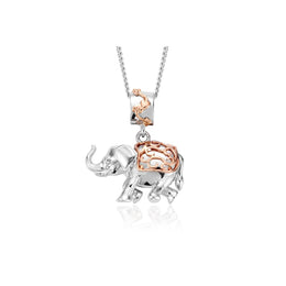 Clogau The Journey Sterling Silver 9ct Rose Gold Indian Elephant Necklace, 3SJRNP1.