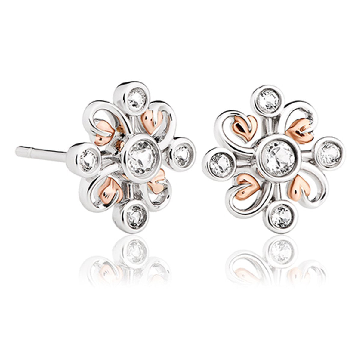 40f1aefa7 Clogau Tree Of Life Sterling Silver White Topaz Clover Stud Earrings 3SLKSE