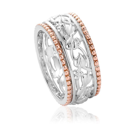 Clogau Tree Of Life Sterling Silver Rose Gold Ring. 3STLRR4.