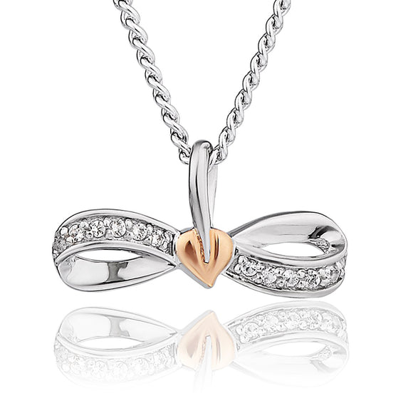 Clogau Tree Of Life Sterling Silver Rose Gold White Topaz Bow Necklace 3STOLWBP