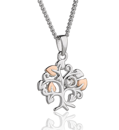 Clogau Tree Of Life Sterling Silver Rose Gold White Topaz Necklace 3STLSP