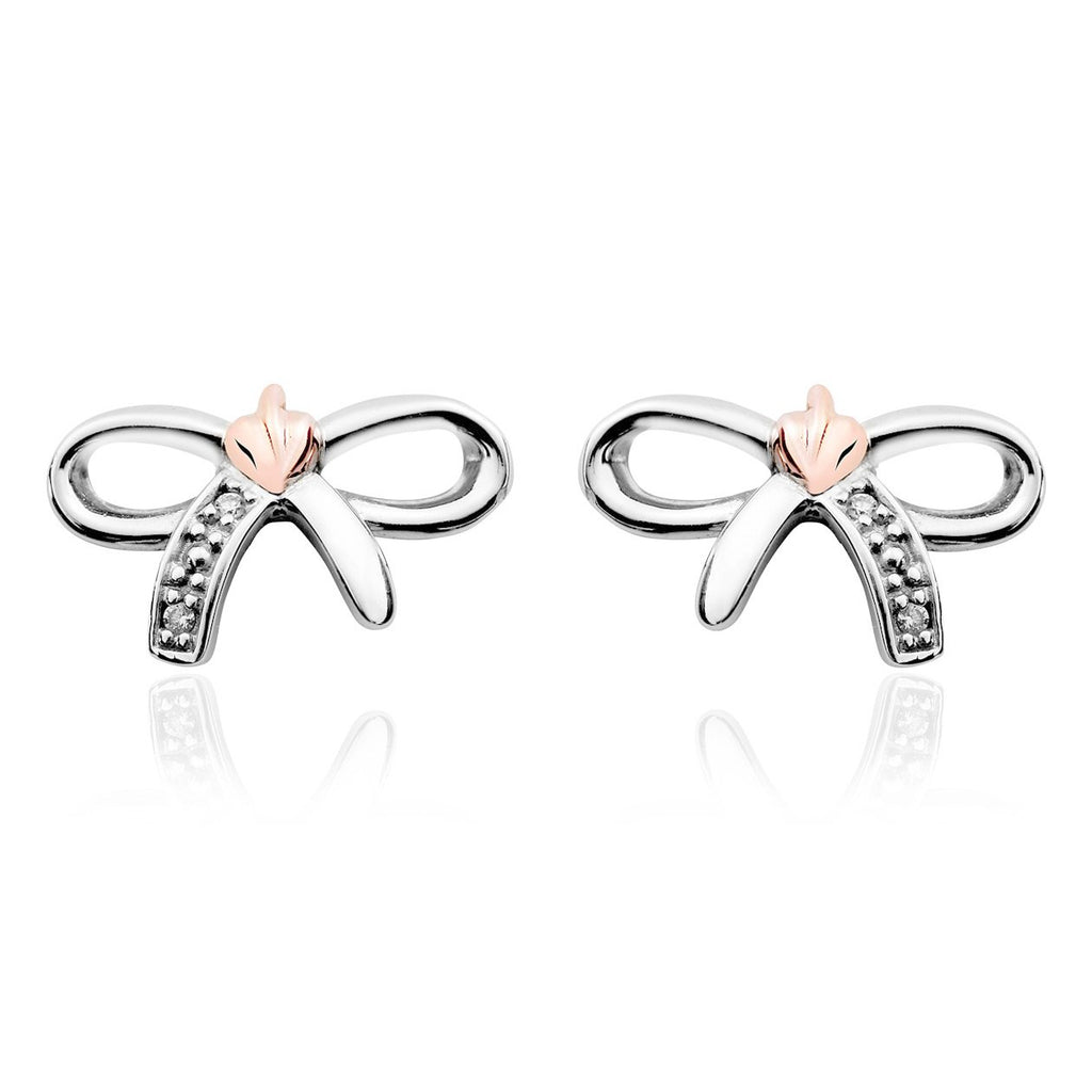Clogau Tree of Life Bow Silver Stud Earrings