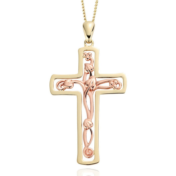 Clogau Tree of Life 9ct Rose Gold Cross Necklace, TLC01.