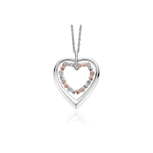 Clogau Tree of Life Sterling Silver Eternity Heart Necklace 3STOLHP1