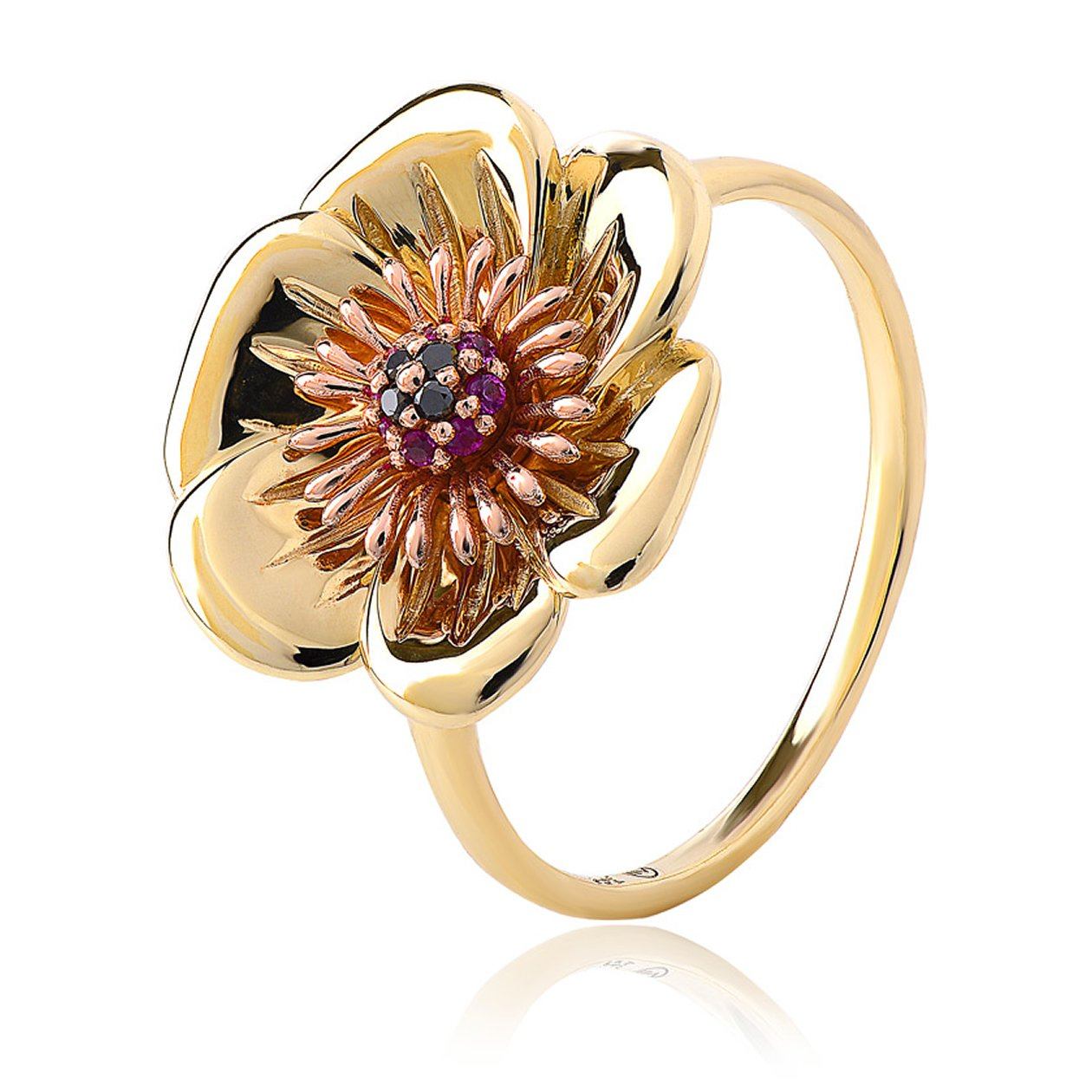 Clogau Welsh Poppy 9ct Rose Gold Diamond Ruby Ring
