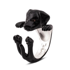Dog Fever Sterling Silver Enamelled Black Labrador Retriever Hug Ring