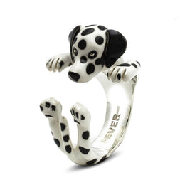 Dog Fever Sterling Silver Enamelled Dalmatian Hug Ring. DFANESMACLA00016