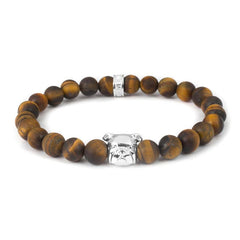 Dog Fever Sterling Silver Tiger's Eye English Bulldog Bracelet