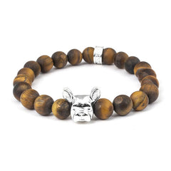 Dog Fever Sterling Silver Tiger's Eye French Bulldog Bracelet