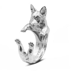 Dog Fever Sterling Silver Welsh Corgi Pembroke Hug Ring